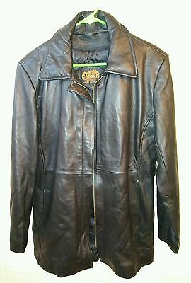 Canyon Outback leather lamb jacket coat men's SIZE L Black heavy belted
