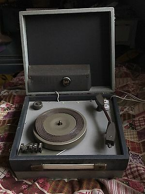 Vintage Portable Record / Vinyl Player Original Light Bulb Plug And Instructions