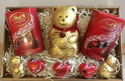 Lindt milk chocolate hamper sweets ❣Valentines❣red/gold gift box teddy bear