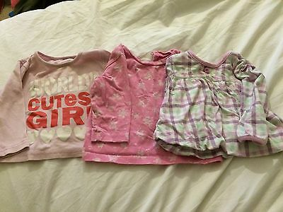 3x Baby Girl Tops Size 6-9 Months