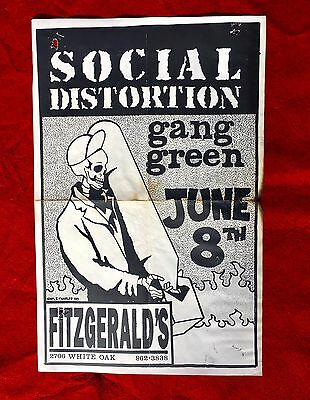 Vintage Social Distortion / Gang Green Concert Poster, Texas 1990, Punk Rock