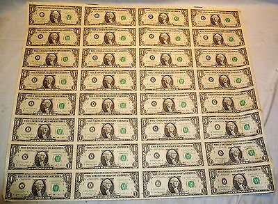1988 AUTHENTIC UNCUT SHEET OF 32 x $1 DOLLAR UNCIRCULATED FEDERAL RESERVE NOTES