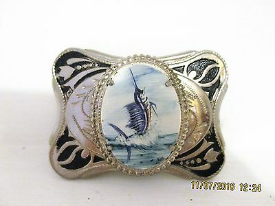 BLUE &WHITE DELFT BELT BUCKLE ~ SILVER BUCKLE WITH sword fish