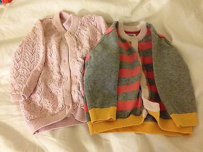 2 Baby Girl Cardigans 3-6 Months