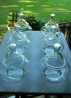 Vintage Glass Apothecary Candy Jars Wedding Buffet Squat Stacking Lot Of 6