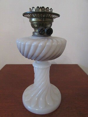 Antique Opaque Glass Oil Lamp, Best English Make