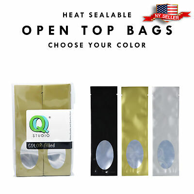 100PCS Variety of Colors Flat Long Open Top Metallic Mylar Bags w/ Clear Window
