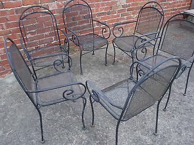 Set of Six (6) Lovely Vintage-Retro Wraught Iron Outdoor/Patio Chairs ,Melbourne