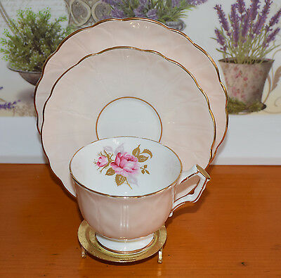 Delightful AYNSLEY Bone China Trio Pink Roses, Peach Rim, Crocus
