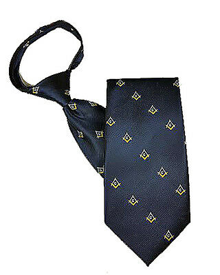 MASONIC ZIPPER TIE - NAVY with GOLD ACCENTS on POLY FABRIC - with MASONIC LOGO