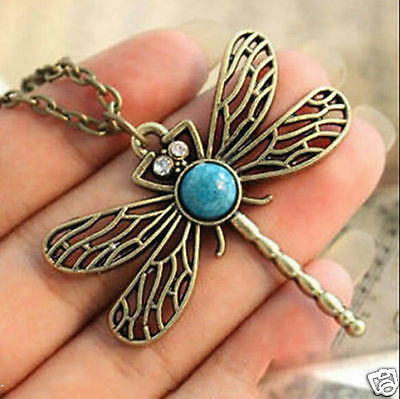 Vintage Bronze Pretty Dragonfly Nature Stone Pendant Long Necklace Chain