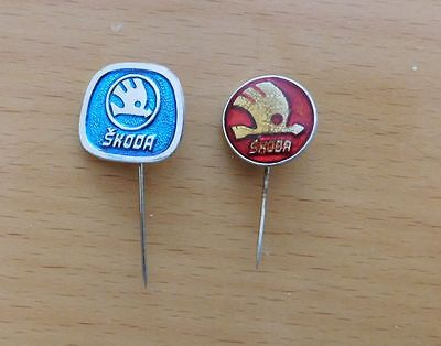 LOT 2 old pins - Skoda CAR, AUTO, TRANSPORT (red and RARE blue pin)