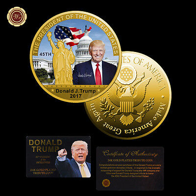 FREE SHIP US Donald Trump Commemorative Coin Gold Challenge Coin w/ certificate