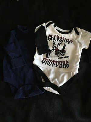 2 Boys One Piece Shirts Size 0-3 Months