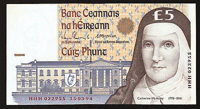 Ireland 5 Pounds Replacement HHH 1994 AU. first date.