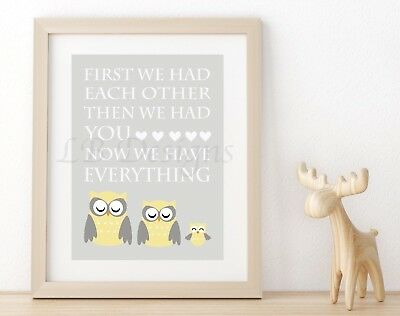 Gray And Yellow Woodland Nursery Print, Owl Nursery Decor 8x10