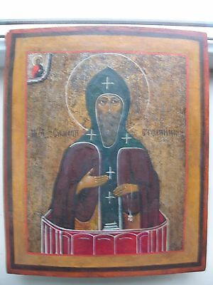 """Antique 19c Russian Orthodox Hand Painted Wood Icon """"Simeon Stylites"""""""