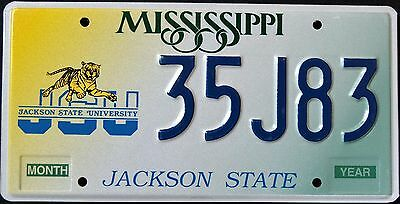 "MISSISIPPI "" JACKSON STATE UNIVERSITY - JSU - TIGER "" MS Graphic License Plate"