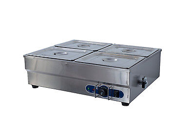 S/steel Hot Food Display Warmer Bain Marie 4X 1/2 Gn Trays With Cover Wty