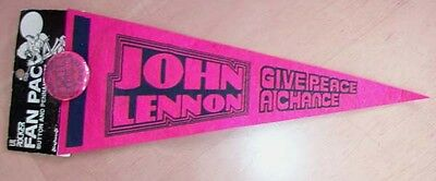 1960s? John Lennon Give Peace a Chance Pinback Button and Pennant Still on Card