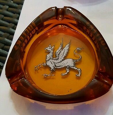 Vintage rare amber glass  Fullers Griffin Brewery Ashtray