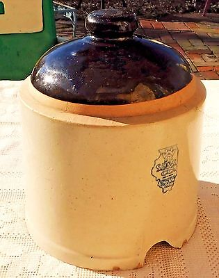 Vintage White Hall S.p. & S. Co. Stoneware Pottery Poultry Feeder - Made In Usa