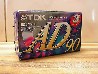 3 x Blank Cassette Tapes, TDK AD90, Brand New & Sealed