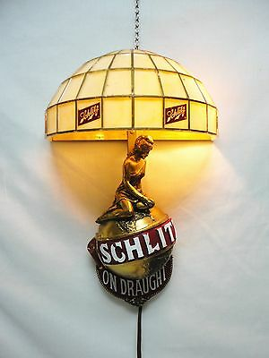 "1971 SCHLITZ ON DRAUGHT BEER Advertising SIGN / WALL SCONCE w ""PURITY"" on Globe"