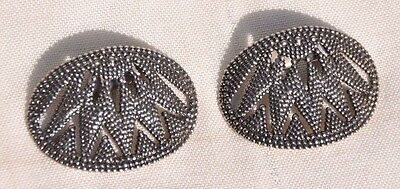 Pair Of 2 Vintage Oval Art Deco Design Shoe Clips, Large: 2 1/2 Inch