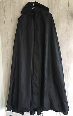 Halloween Costume Black Cape  Adult One Size Fits All Hooded Lined Excellent!