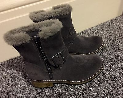 CLARKS Gray Suede Moto Boots- toddler Girls size 10