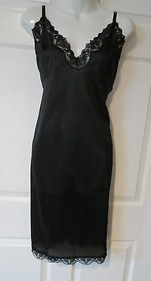 Black Nylon Full Slip By Sliperfection Size 44 Bodice /Hem Lace USA