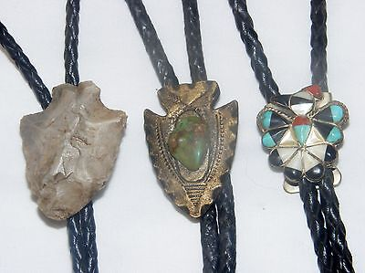 Bolo Ties Lot Of 3 Turquoise Coral Onyx Mother Of Pearl Native American Vintage