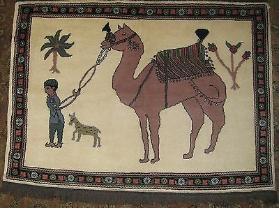 "Pictorial (Boy Leading Camel) Gabbeh Rug, 3'x4'2"", Hand-Knotted Wool Pile"