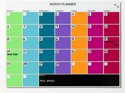 80cm x 60cm Magnetic Glass Board Coloured Month Planner