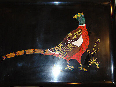 Mid Century Couroc of Monterey Ring Necked Pheasant Serving Tray