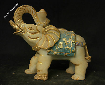 """8"""" Chinese Antique Pure Natural Old Jade Gilt Hand-carved Elephant Sculpture"""