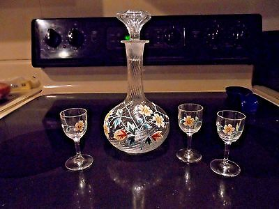 Vintage Glass Decanter w/Pontil & 3 Glasses w/Enameled Painted - Unknown