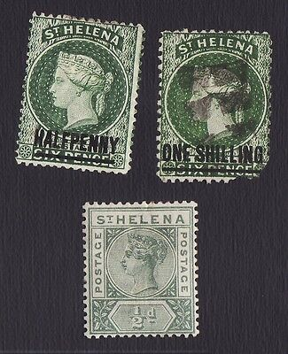 St. Helena postage stamps Sc 17 used 34 40 unused green OP 1/2d 1s on 6d
