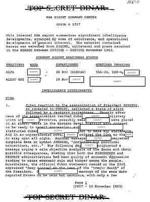 John F. Kennedy Assassination National Security Agency (NSA) Files