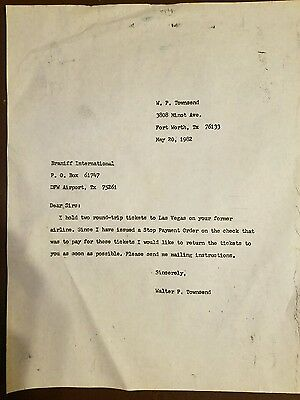 Letter to Braniff Airlines