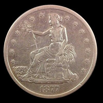 1877 S Trade Dollar, Very Collectible Silver Coin, High Grade Probable Cleaning