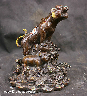 Chinese Folk Fengshui Old Antique Copper Brass Statue Zodiac Tiger Sculpture