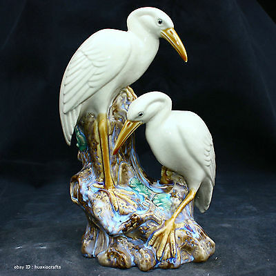 China Private Antique Famille Rose porcelain Pottery Statue Tine Crane Sculpture