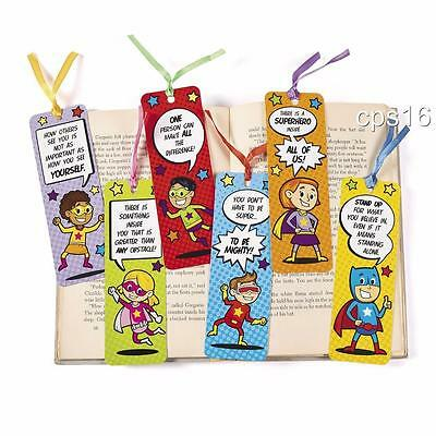 12 x Superhero Bookmarks   Childrens Party Favours   Party Loot Bag Supplies