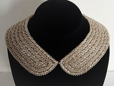 Vintage Beaded Collar ~ Faux Pearls and Tube Beads