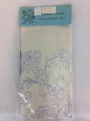Vintage Embroidery Colonial Crewel Kit Queen Annes Lace Rose Coral 1976 NOS