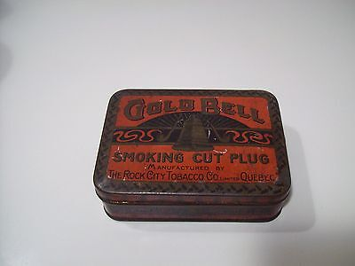 Old GOLD BELL Smoking Cut Plug Tin Can by Rock City Tobacco Co. Ltd, Quebec