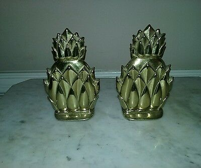 Pair Virginia Metalcrafters Newport N8-2 Brass Pineapple Bookends