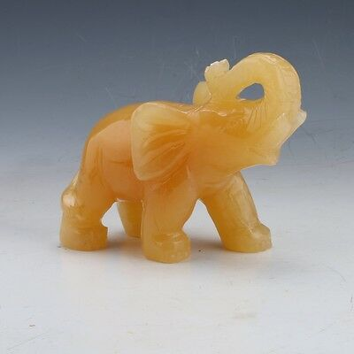 100%  Natural MiHuang Jade  Hand-carved  Elephant Statue